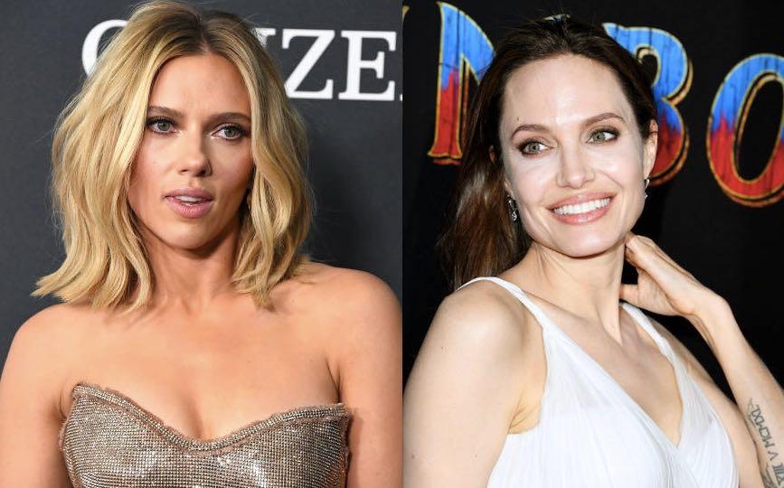 Imagem da Scarlett Johansson e da Angelina Jolie